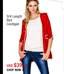 3/4 Length Red Cardigan