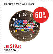 American Map Wall Clock
