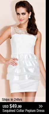 Sequined Collar Peplum Dress