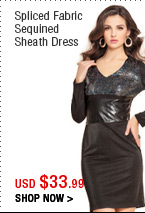 Spliced Fabric Sequined Sheath Dress