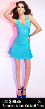 Turquoise A-Line Cocktail Dress
