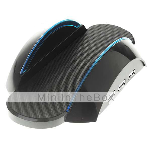 docking station con luce blu per PS3 Slim - nero + blu