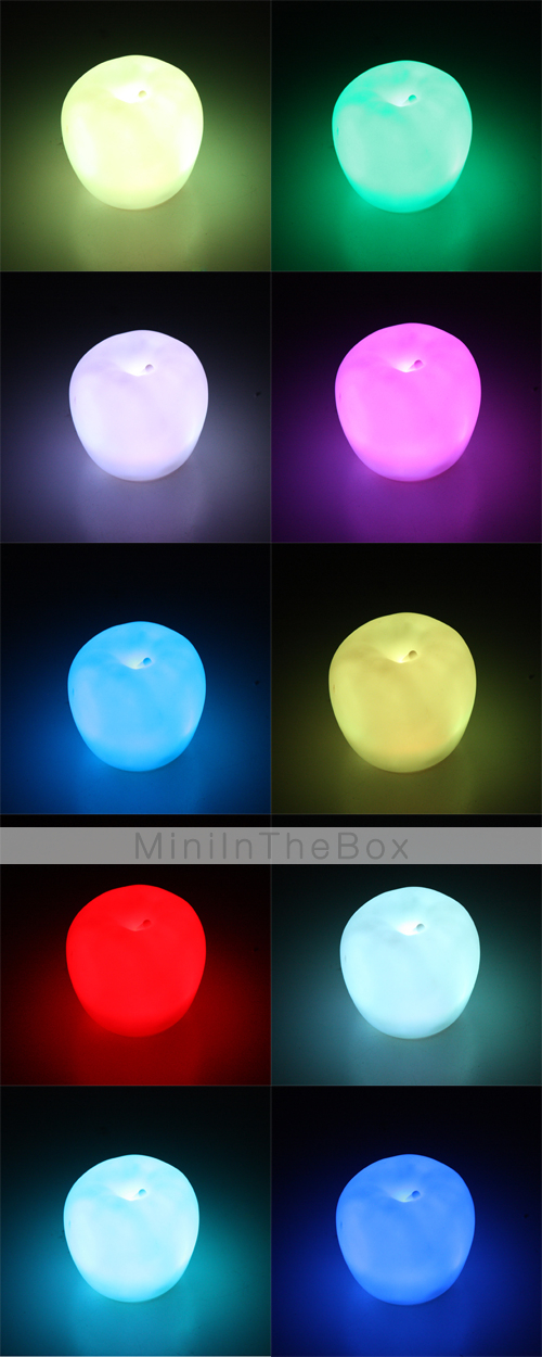 Colorful Apple Fruit LED Night light Lamp Changing