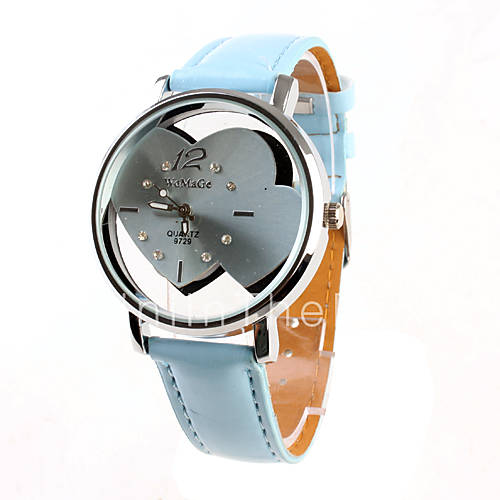 Описание: Два сердца часы для девушек и женщин наручные часы лазурный ремешок 9729... . Автор: Августин