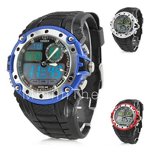 мужские многофункциональные резиновые аналоговые цифровые мульти-движения наручные часы (черный