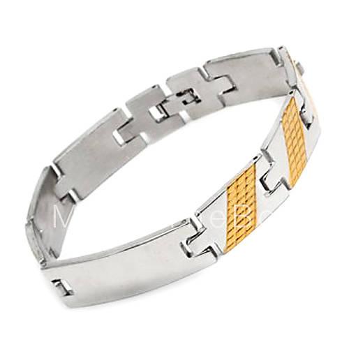 EUR $ 6.43 - мужской золотой полоской титана стальной браслет