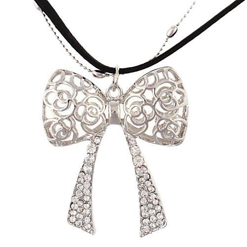EUR $ 4.50 - Серебряные женские веревки и ожерелье Медь цепочка с подвеской Бабочка Rhinestone
