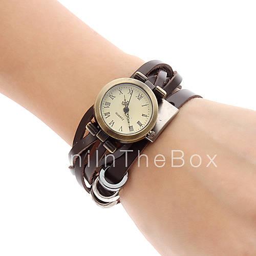 2013 Женские кварцевые аналоговые коричневый кожаный ремешок браслет часы